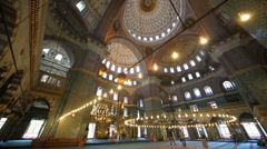 Grand dome in old New Mosque in Istanbul, Turkey Stock Footage