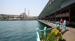 Restaurants near the water in Istanbul, Turkey Stock Footage