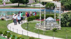 Miniature of the mosque in Miniaturk Museum in Istanbul Stock Footage