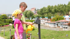 Stock Video Footage of boy and girl  listening comment electronic guide in Istanbul