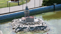 Maiden Tower (Kiz Kulesi) in Miniaturk Museum in Istanbul Stock Footage