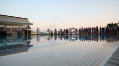 Party near the pool in hotel Goldcity in Alanya, Turkey. Stock Footage