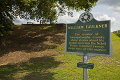 Marker for William Faulkner's Grave in Oxford, MS - stock photo