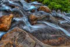 rocky falls in high dynamic range - stock photo