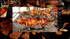 Pig & lamb grill burgers barbecue  meat multi split screen Stock Footage