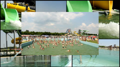 fun aqua amusement park  multi screen lot of a fun and summer happines - stock footage