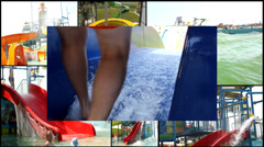 aqua amusement park  multi screen lot of a fun and summer happines - stock footage