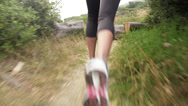 Stock Video Footage of woman running trail close up shoes steadicam shot