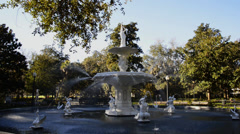 Slider Shot 2 of Forsyth Fountain in Savannah, Georgia Stock Footage