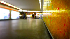 People travelling quickly into Rome's underground. Stock Footage