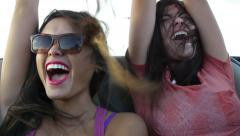 Two Friends Scream With Excitement In The Backseat Of A Convertible Stock Footage