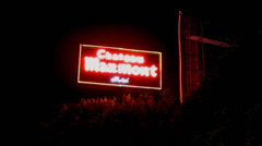 Chateau Marmont Hotel Neon Sign On Sunset Boulevard- Hollywood CA Stock Footage