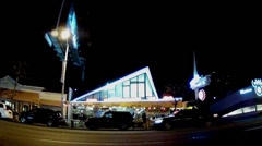 Mel's Drive In Restaurant On Sunset Blvd.- West Hollywood, CA Stock Footage