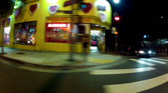 Night Driving By Storefronts On Sunset Boulevard- West Hollywood, CA Stock Footage