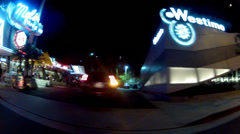 Stock Video Footage of Night Driving By Mel's Diner Restaurant On Sunset Blvd- West Hollywood, CA