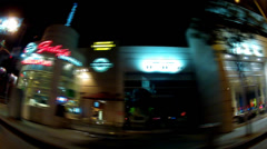Night Driving By Whiskey A Go Go Nightclub On Sunset Blvd- West Hollywood, CA - stock footage