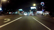 Stock Video Footage of Night Driving On Sunset Boulevard Or Strip Past Hustler Store