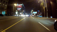 Stock Video Footage of Night Driving On Sunset Boulevard Or Strip- West Hollywood, CA