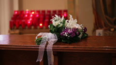 Candles and Flowers at Church  Stock Footage