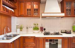 Cherry modern kitchen Stock Photos
