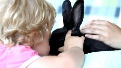 Little girl with a rabbit Stock Footage