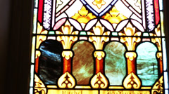 Stain Glass Window at Church  Stock Footage