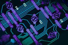 blue circuit board background close ups - stock photo