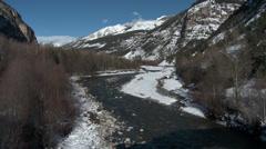 Le Pont De Moulin View Down Valley Stock Footage