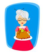 Stock Illustration of grandma with a delicious roasted and big turkey