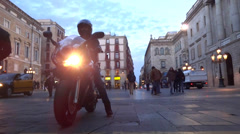 Barcelona street at evening Stock Footage
