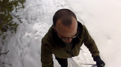 Man nordic skiing high shot Stock Footage