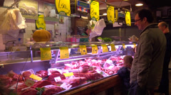 Meat store - family shopping Stock Footage