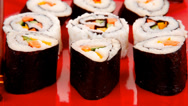Stock Video Footage of Traditional Cuisine - California Roll with Avocado and Salmon on
