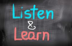 listen and learn concept - stock illustration
