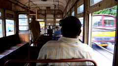 Interior view of a moving tram Stock Footage