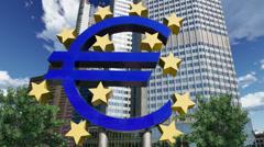 4K Euro sign ECB European Central Bank Stock Footage