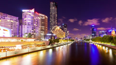 Panning timelapse video of the Yarra River in Melbourne at night Stock Footage