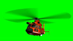 Helicopter U.S. Coast Guard Eurocopter in fly - green screen - stock footage