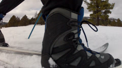 Cross country skiing close up shot Stock Footage