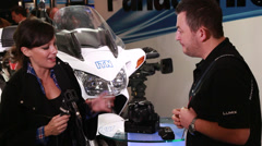Panasonic GH4 4K camera at BVE  2014 show Stock Footage