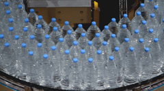 Water bottle conveyor industry Stock Footage