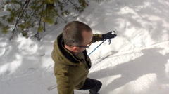 A man nordic skiing high shot Stock Footage