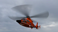 Helicopter U.S. Coast Guard Eurocopter in fly - stock footage
