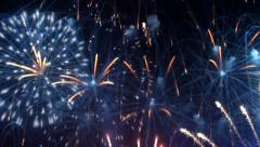 Colorful fireworks at holiday night. Stock Footage