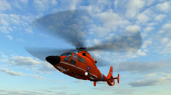 Helicopter U.S. Coast Guard Eurocopter in fly Stock Footage