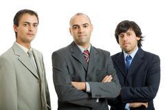 Three business men isolated on white background Stock Photos