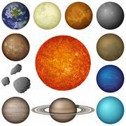 Aurinkokunnan planeetat ja kuu, aseta Piirros