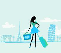 beautiful women shopping in france and italy - stock illustration