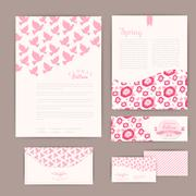 Set of floral vintage wedding cards, invitations or announcements. wedding in Stock Illustration
