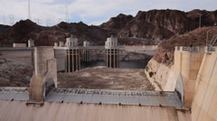 A View of Concrete Structures at Hoover Dam on Colorado River Stock Footage